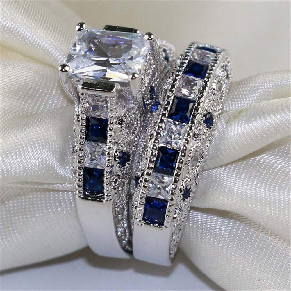 d1313f3fd6 Gy Jewelry 3pc His and Hers Wedding Ring Sets Couples Rings Women's White  Gold Plated Blue Sapphire Cubic Zirconia ...