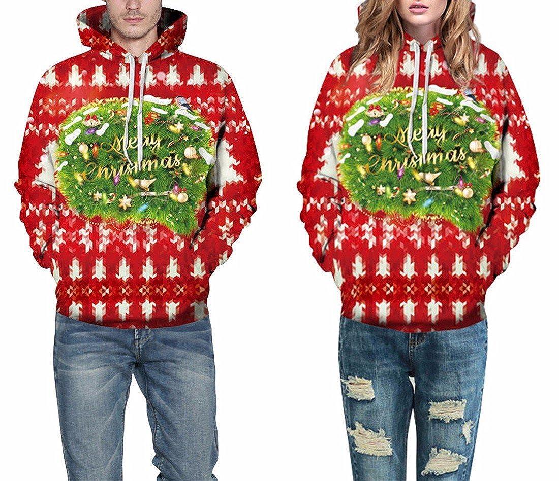 Paixpays Christmas Xmas Hoodie Women Jumper Pullover Shirts Tops Sweatshirt