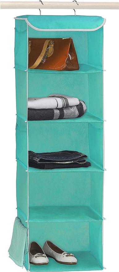 Amazon.com: Simple Houseware 5 Shelves Hanging Closet Organizer, Turquoise: Kitchen & Dining