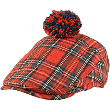 a28edd75f9 Mens Official Major Wear Red Scottish Tartan Flat Cap with Pom Pom   Amazon.co.uk  Clothing