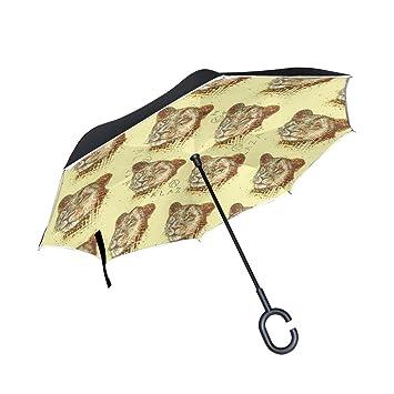DragonSwordlinsu Paraguas inverso con Cabeza de Leopardo de Doble Capa para Coche y Exterior, Resistente