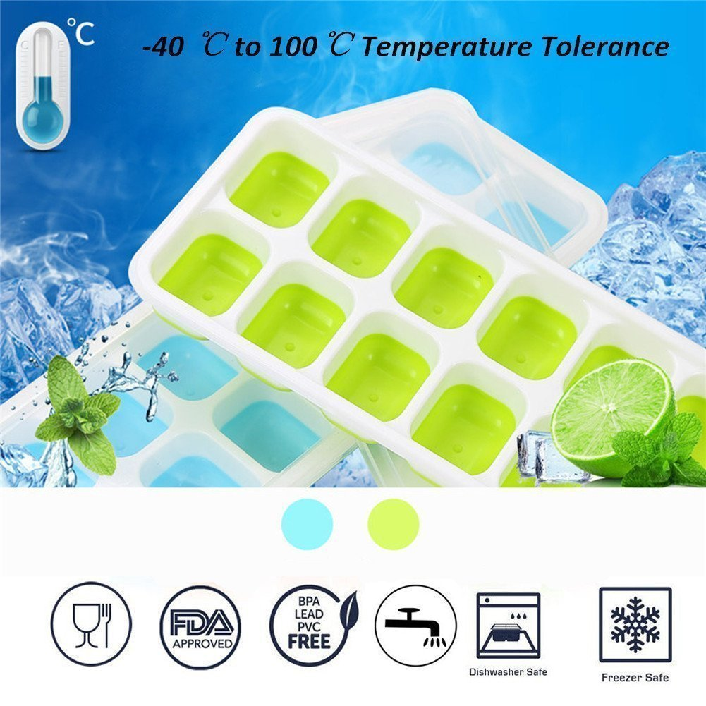 Ice Cube Trays Silicone,Ice Cube Mold Ice Tray Spill Resistant Lids 4 Pack and Flexible Reusable 14-Ice Trays Set with Lid Stackable BPA Free Dishwasher Safe Ice Cube Maker Storage Containers by SBC (Image #2)