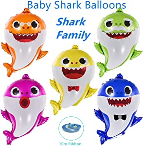 "Baby Shark Balloons - EQARD 25"" Cute Shark Balloons for Party Decorations,5 Pcs Shark Family Balloons for Baby Shark Birthday Decorations,Helium Balloons for Baby Shark Party Supplies(Ribbon Included)"
