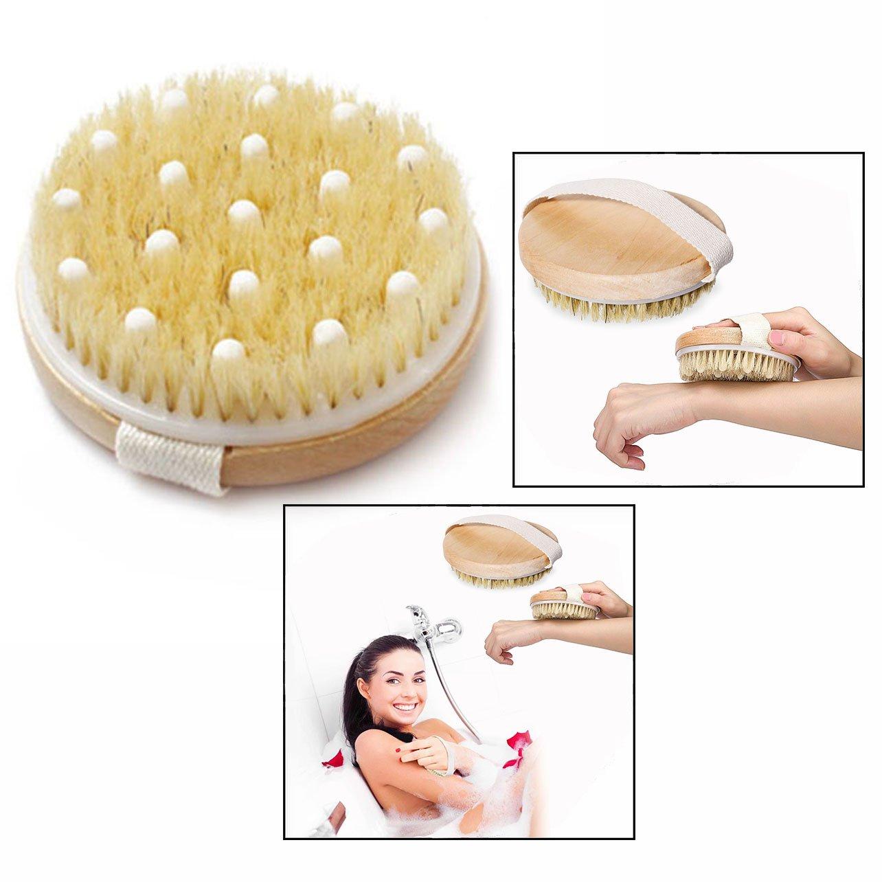 Cisixin Badebürste Aus Naturborsten und Holz, Massagebürste Bad Körperbürste