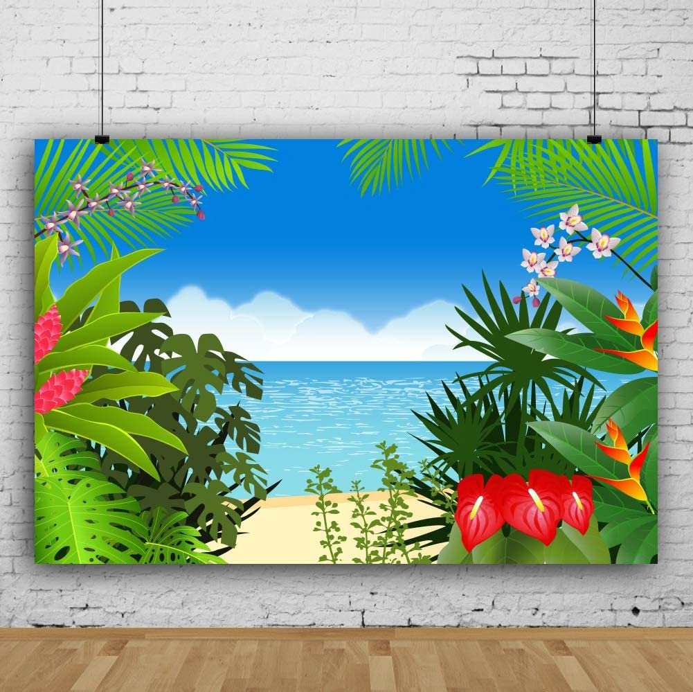 AOFOTO 9x6ft Vinyl Tropical Summer Beach Backdrop Luau Party Decoration Rainforest Large Tree Flowers Leaves Background for Photography Kids Children Baby Photo Studio Props