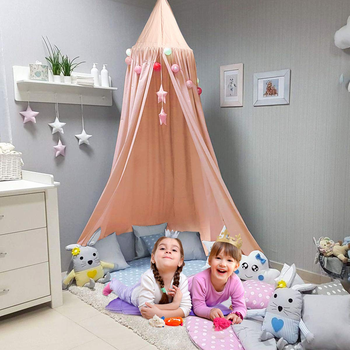 Jeteven Cotton Canvas Dome Bed Canopy Kids Play Tent Mosquito Net for Baby Kids Indoor Outdoor Playing Reading Height 240cm/94.5in Pink