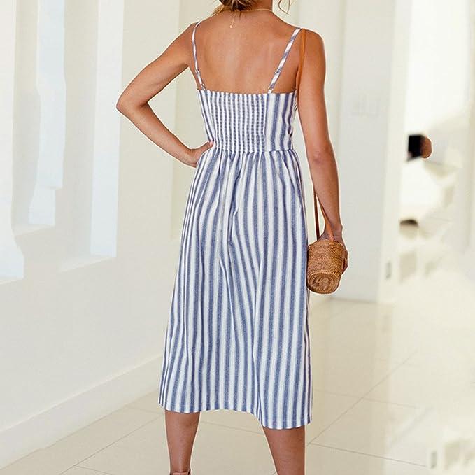 00a4320624 Sunward Women s Dresses-Summer Bohemian Spaghetti Strap Button Down Swing  Midi Dress With Pockets at Amazon Women s Clothing store