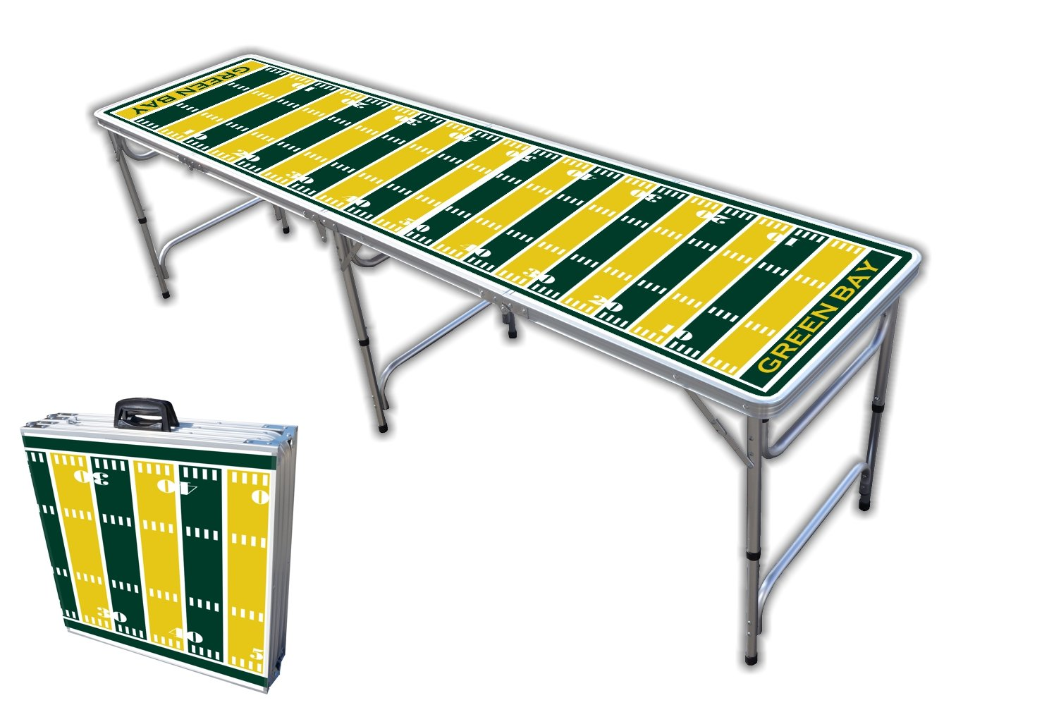 8-Foot Professional Beer Pong Table - Green Bay Football Field Graphic by PartyPongTables.com