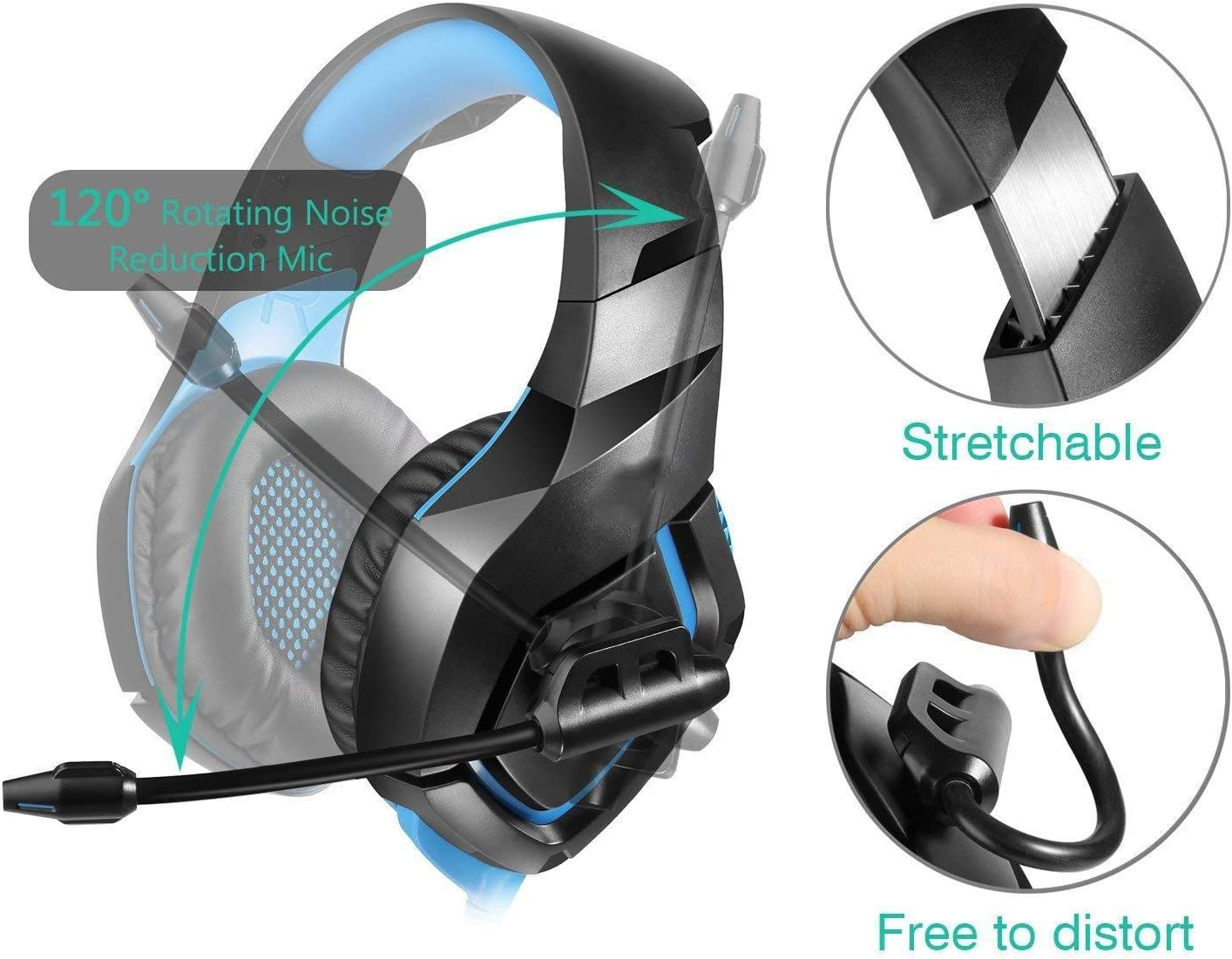 Soft Memory Earmuffs EAHKGmh Gaming Headset Headphones Earphones Wired Headset for PS4 Color : Black Blue Noise Cancelling Over Ear Headphones with Mic