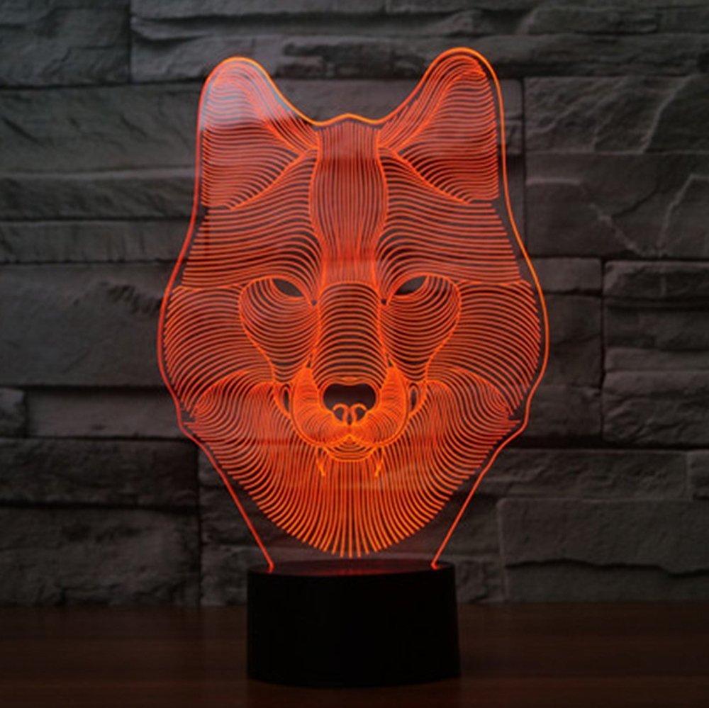 Voorpret Superhero 3D Illusion Light Optical Bedroom Night Color Change LED Desk Table Lamp (wolf)