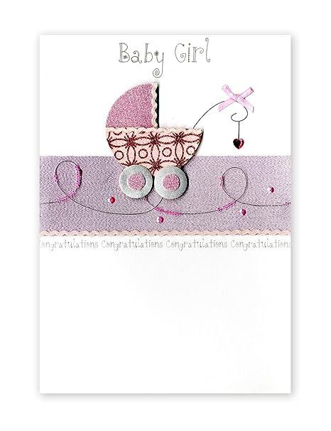 Second Nature - Tarjeta de felicitación para niña recién nacida, diseño de carrito de bebé