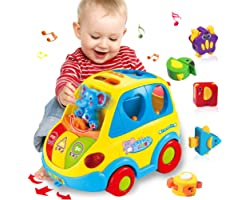 HOMOFY Baby Toy 12-18 Months, Musical Shape Smart Bus & Go Action Bus Early Education Toy ,Various Animal Sounds/Music/Light/