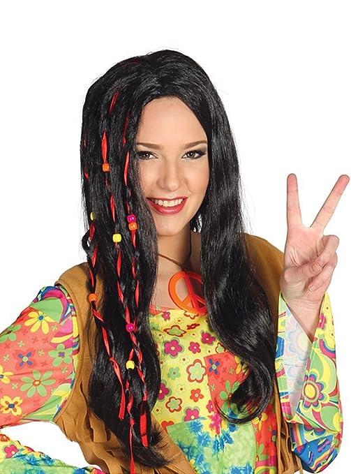 Perruque Hippie noires tresses de cheveux longs avec des rubans rouges et  perles 70
