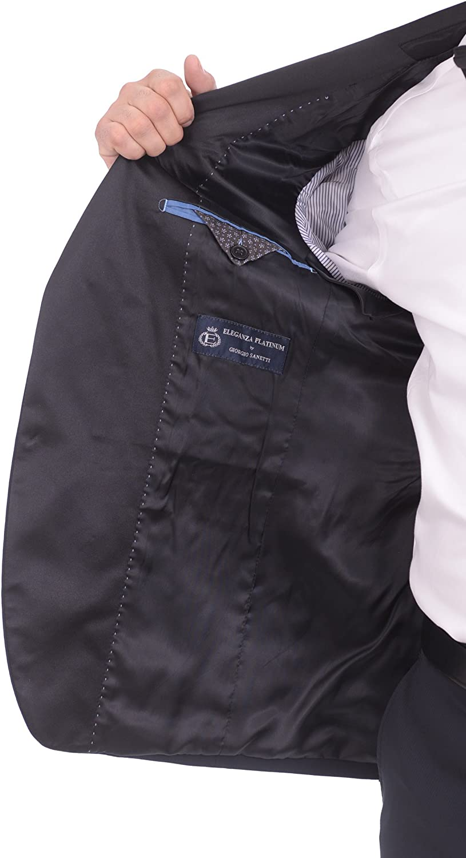 Eleganza Platinum Slim Fit Navy Blue Tonal Striped Two Button Tuxedo Suit