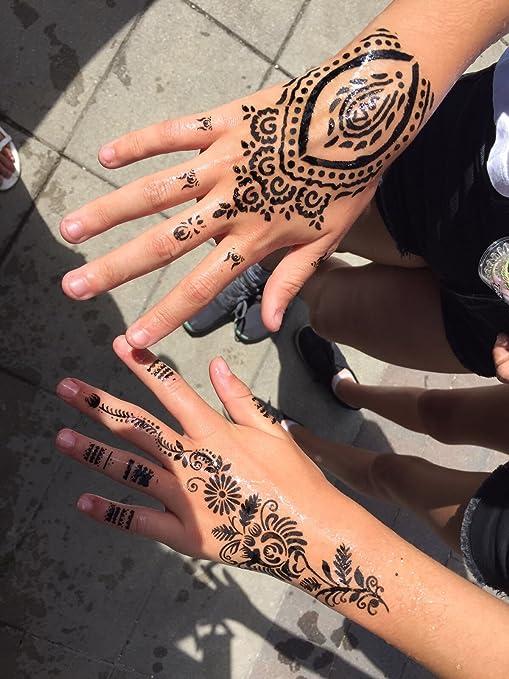 mehandi schablonen 5 stck set henna 5 designs zur einmaligen verwendung fr hnde auch fr glitter tattoo und air brush tattoo geeignet amazonde beauty - Henna Muster Fur Anfanger