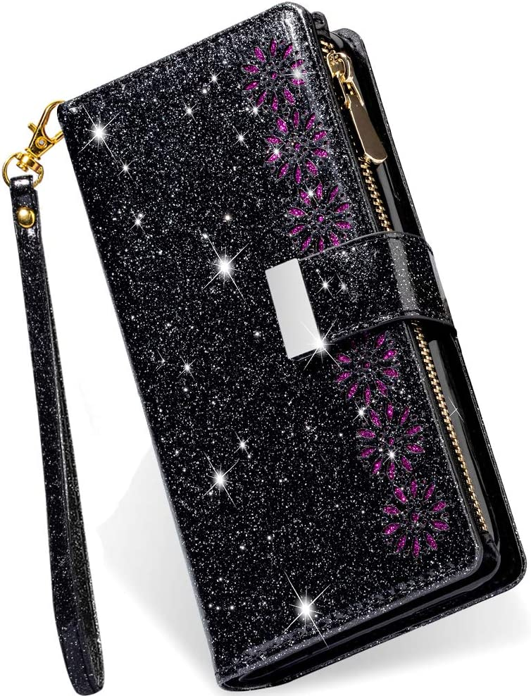 Kudex iPhone 12 Pro Max Case Wallet with Card Holder,Bling Sparkly Glitter Flip PU Leather Magnetic Kickstand Zipper Wallet Case with Card Slot Wrist Strap for iPhone 12 Pro Max 6.7inch 5G(Black)