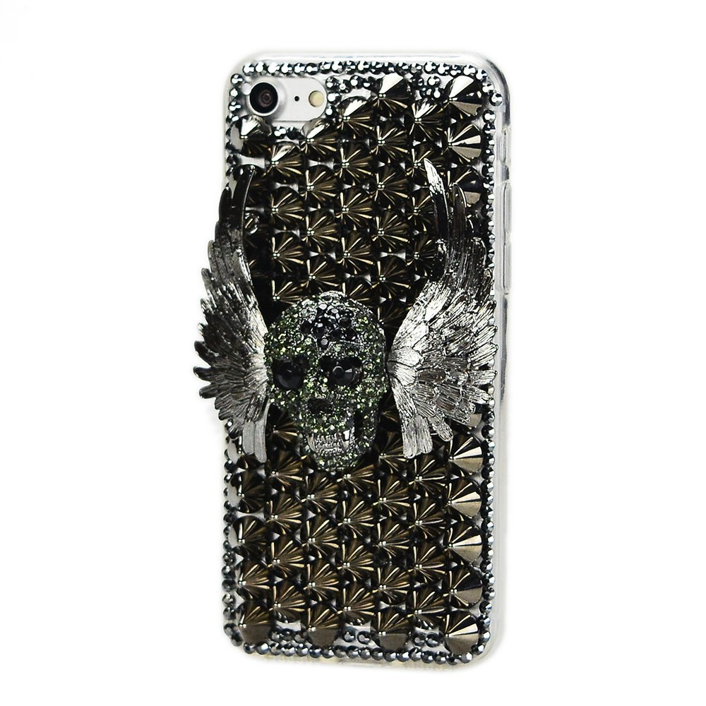 STENES iPhone 6S Plus Case - 3D Handmade Sparkly Crystal Design Bling Cover Hybrid Drop Bumper Protection Case With Retro Bows Anti Dust Plug - Punk Rivet Wing Skull/Black