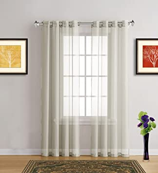 Warm Home Designs Extra Long Light Beige Sheer Window Curtains With Grommet Top For Bedroom