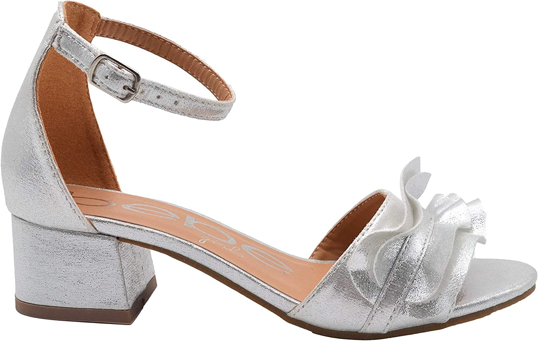 bebe Girls Heel Sandal with Shimmer Ruffle Embellishment Little Kid Big Kid Slip On Open Toe Shoe