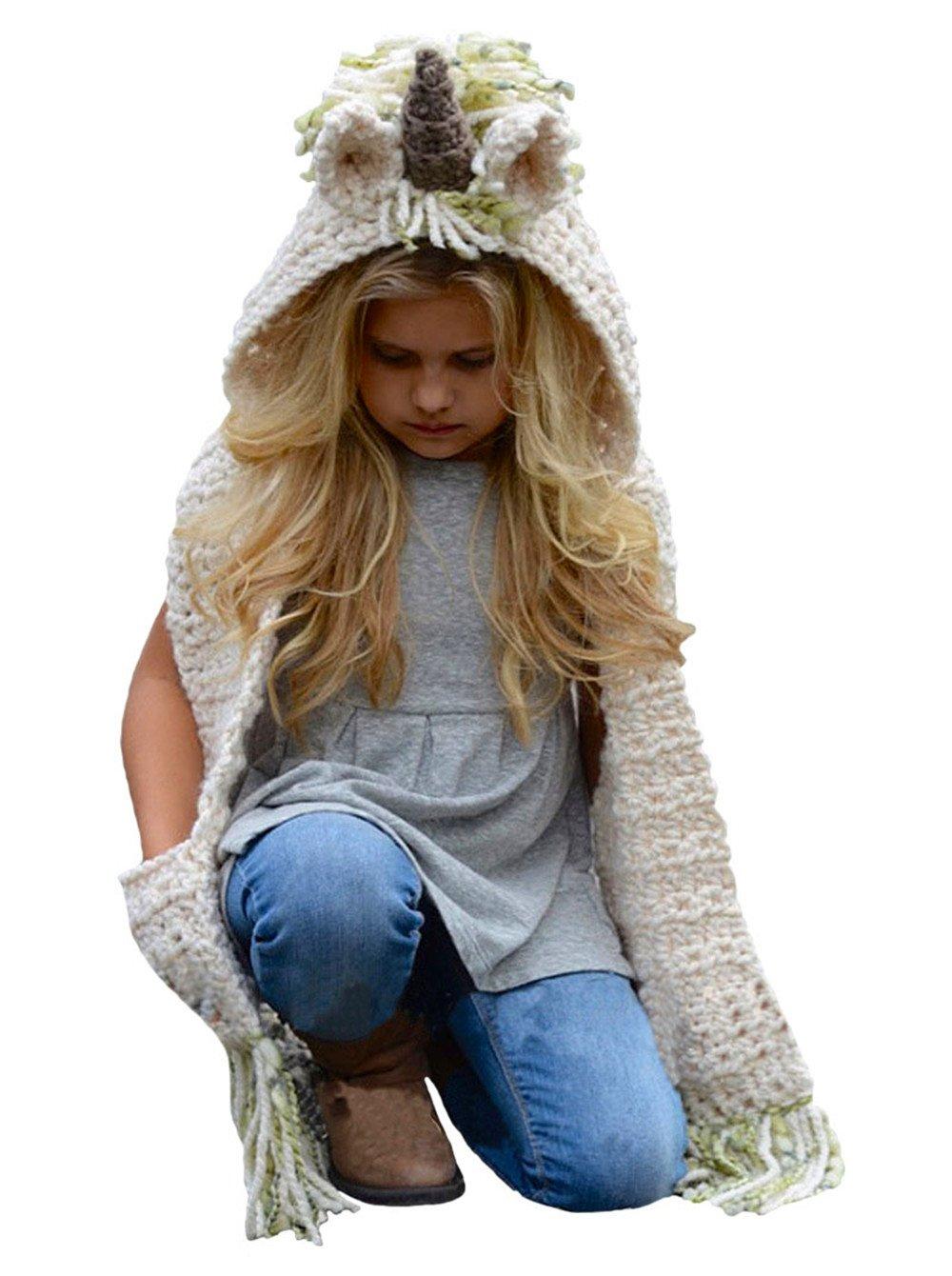 D-Foxes Warm Winter Kids Hat Crochet Knitted Caps coif Hood Fox Scarf Earflap Beanies
