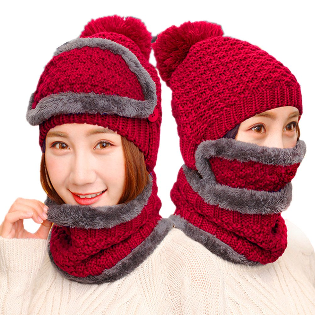 ANBOVER Adult Winter Beanie Knit Full Set of Outdoor Hats Warm Lined Caps AN17112002