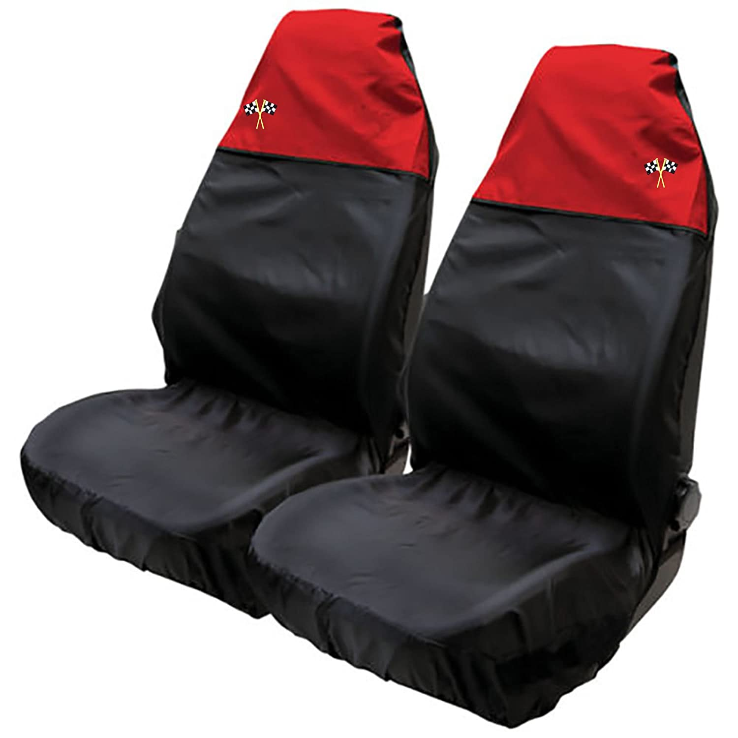 XtremeAuto® Waterproof FRONT Seat Covers with Chequered Flag Logo (Charcoal Grey)