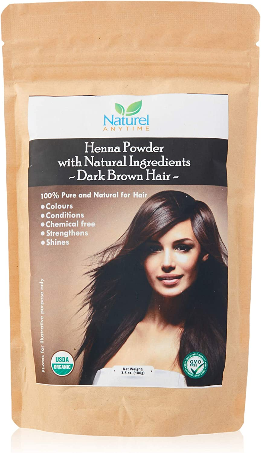 Organic (USDA, GMP) Henna for Dark Brown/Black/Reddish brown Colour Hair, healthier, softer hair (Recipe provided) for temp tattoos and eyebrows, CPSReports certified in UK/EU