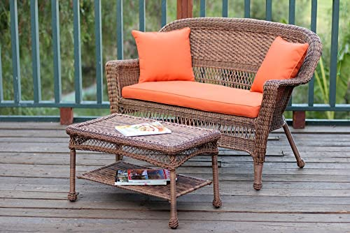 Jeco Wicker Patio Love Seat and Coffee Table Set with Orange Cushion, Honey
