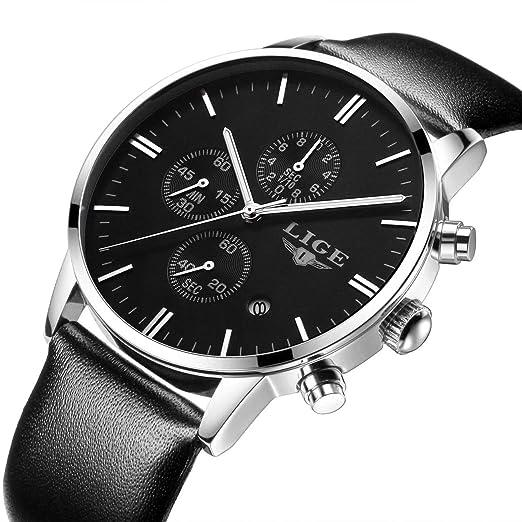 Relojes Business Casual Deporte Banda Correa De Piel Reloj De Pulsera: Amazon.es: Relojes