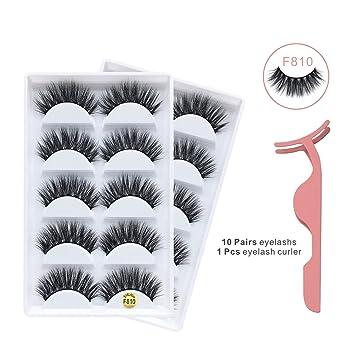 45d81213c93 Amazon.com : 3D Mink False Eyelashes, 10 Pairs Fake Eye Lashes, Handmade  Reusable Mink Lashes, Luxurious Wispy Natural Cross Thick Long Lashes #F810  with ...