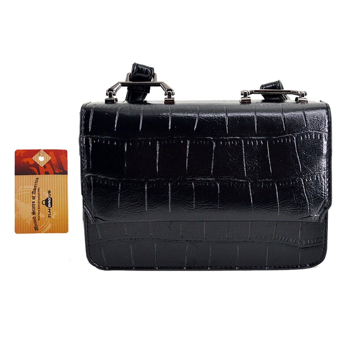 ZLM BAG US Women Alligator Print Faux Leather Messenger Shoulder Bag Embossing Pattern Travel Crossbody Bag Black