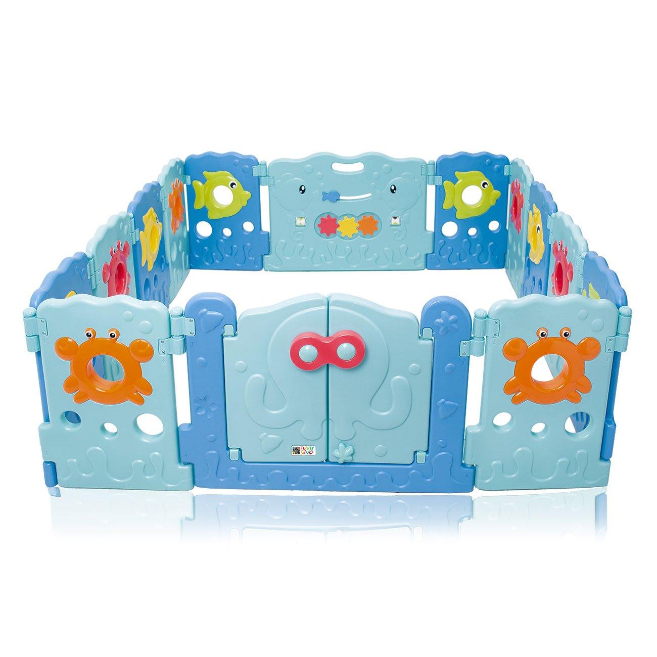 BABY VIVO Laufgitter Laufstall Baby Absperrgitter Krabbelgitter Schutzgitter für Kinder aus Kunststoff mit Tür und Spielzeug 14 Elemente