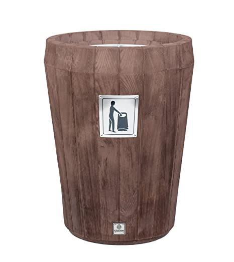 Glasdon Sherwood Open Top Litter Bin Wood Effect Plastic 65