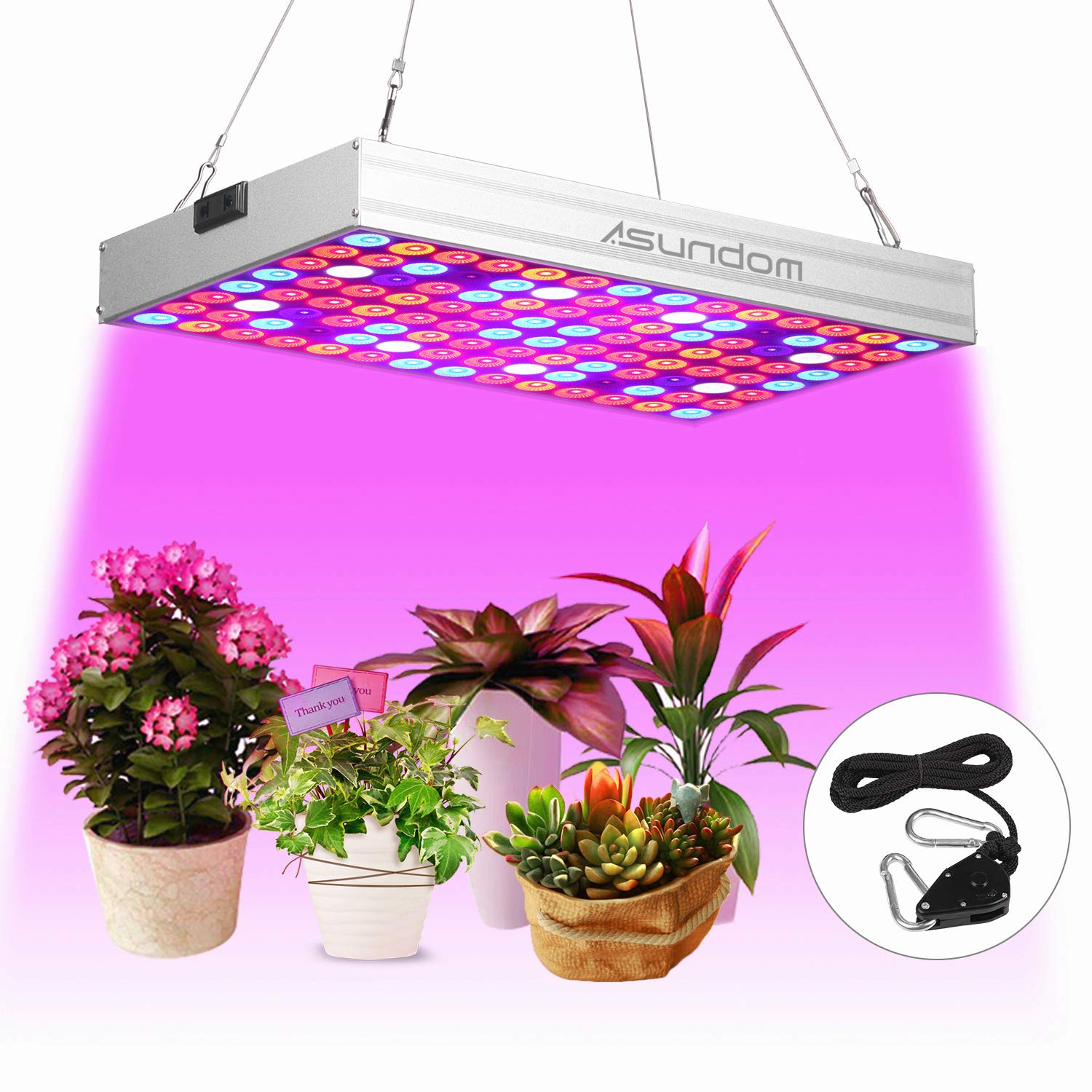 LED Plant Grow Light, Asundom Full Spectrum 100W Pro Aluminum Made Grow Lights with Daisy Chain for Hydroponic Indoor Plants Seeding, Germination & Flowering. by ASUNDOM