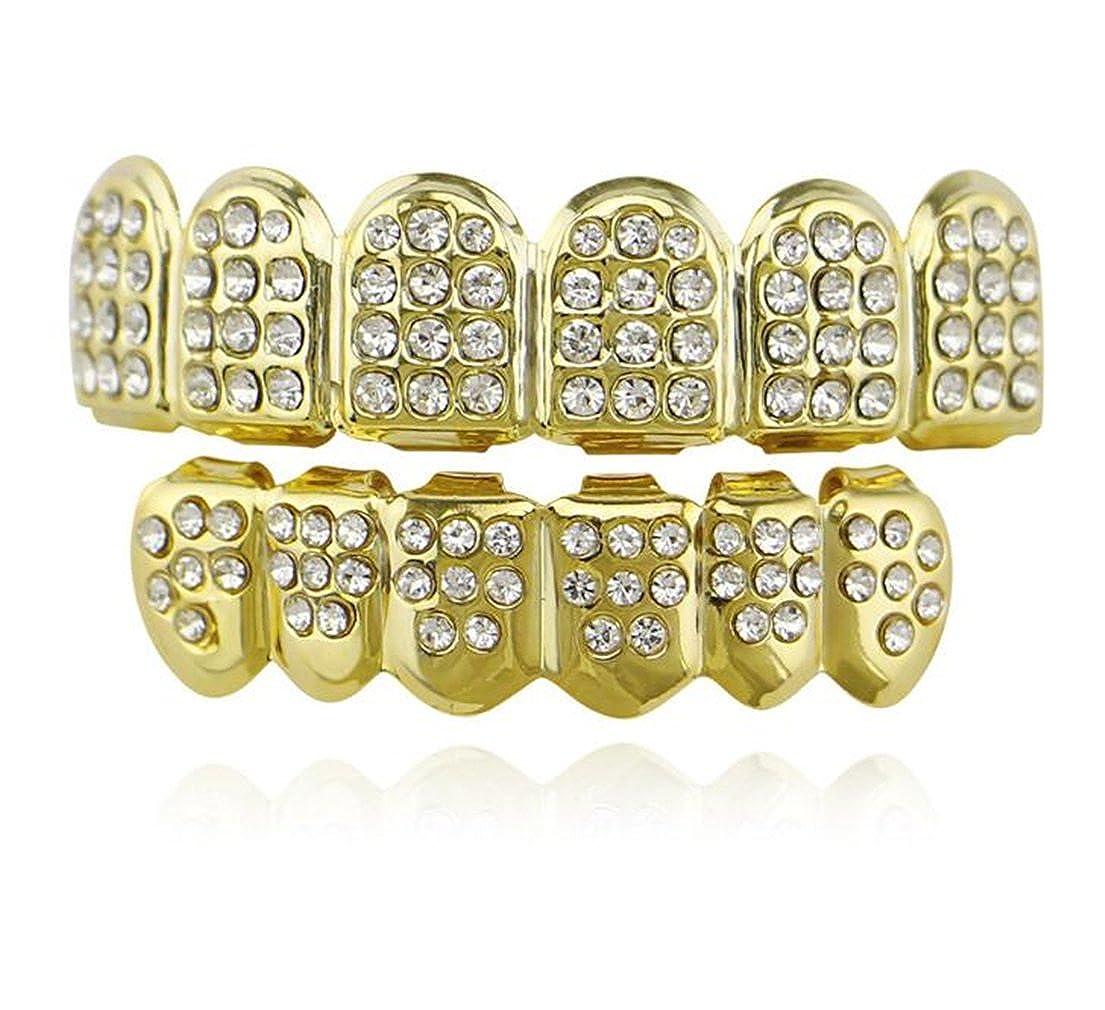 Tmrow 1pc 歯グリル 歯キャップ  クリスタル キラキラ シルバー ゴールド 簡単にフィット 個性的 パーティー ヒップホップ   B07CRL1ZST