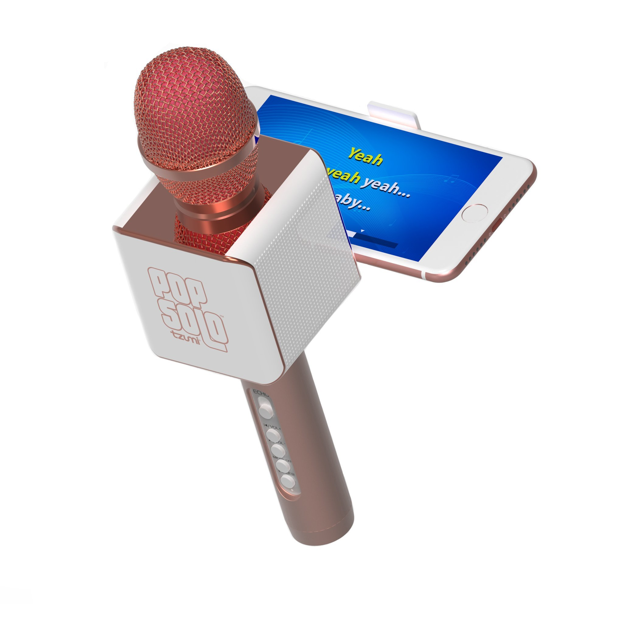 PopSolo by tzumi – Professional Bluetooth Karaoke Microphone and Voice Mixer with Smartphone Holder – Great for Kids and Parties – Rose Gold