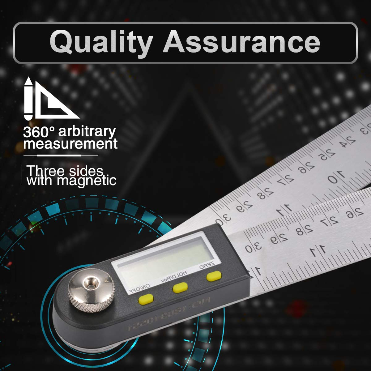 300mm Length 360 Degree with Locking and Zeroing Function Angle Ruler Goniometer KATUR Digital Protractor Ruler with 12 Stainless Steel Bladed Angle Ruler Definition Stainless Steel Ruler