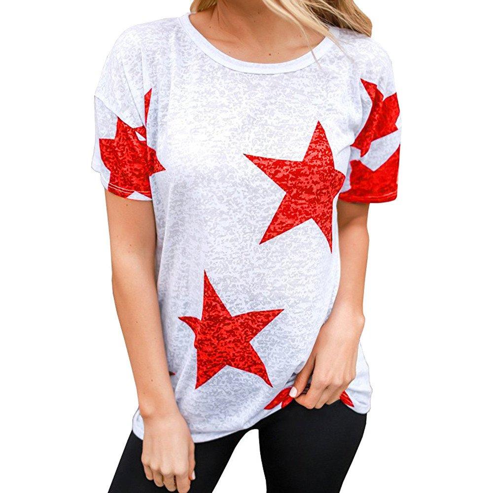 Damark(TM) Ropa Camisetas Mujer, Camisas Mujer Verano Elegantes Cuello Redondo Casual Tallas Grandes Camisetas Mujer Manga Corta Camiseta Blusas Tops para Mujer Fiesta en la Playa