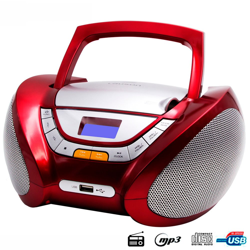 Lauson Boombox whit Cd Player Mp3   Portable Radio CD-player Stereo with USB   Usb & MP3 Player   Headphone Jack (3.5mm) CP542 (Red) by Lauson Woodsound (Image #2)
