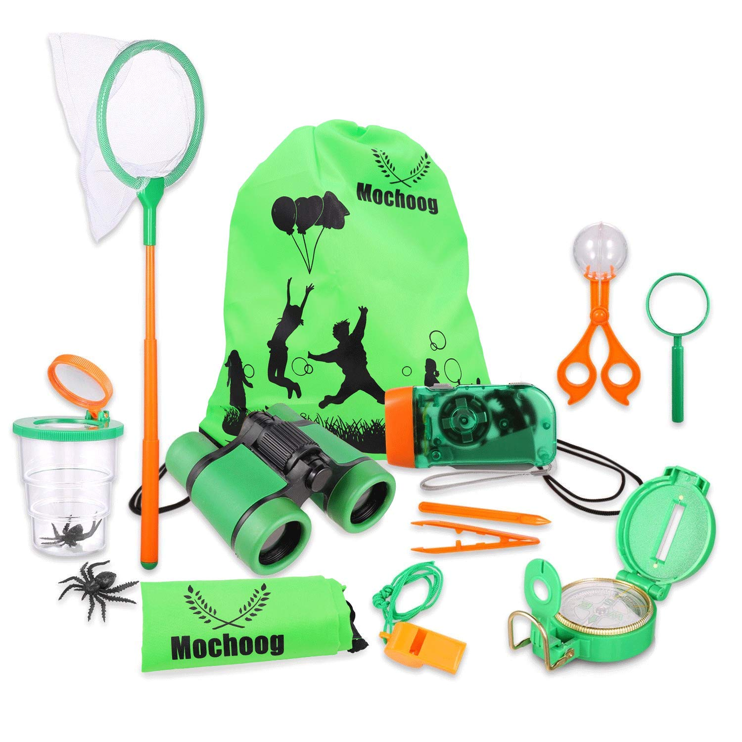 Mochoog Outdoor Explorer Kit for Kids - STEM Educational Exploration Bug Catcher - Binoculars, Flashlight, Compass, Magnifying Glass, Butterfly Net etc, Gift Set for Backyards Camping Hiking by Mochoog