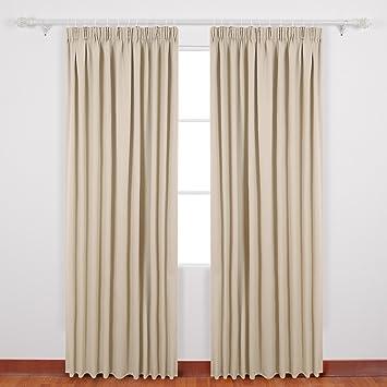 amazon.de: deconovo verdunkelungsvorhang kräuselband gardinen ... - Gardinen Wohnzimmer Beige