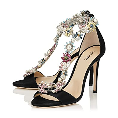 3a7346569ee0 XYD Cocktail Party Evening High Heeled Stilettos Wedding Rhinestones Sandals  T-Strap Crystal Pumps for