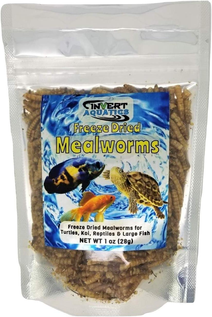 Invert Aquatics Freeze Dried Mealworms - Food for Turtles, Cichlids, Koi, Birds & More