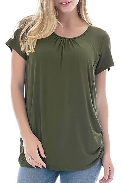ffbc9f720e2d9 Smallshow Women's Maternity Nursing Tops Short Sleeve Modal Breastfeeding  Shirt Small Army Green
