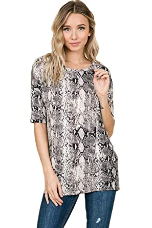 df30309aa8b iconic luxe Women s Snakeskin Animal Print Tunic Top at Amazon Women s Clothing  store