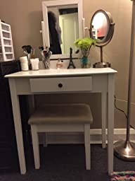 Amazon Com Crown Mark Iris Vanity Table Stool White