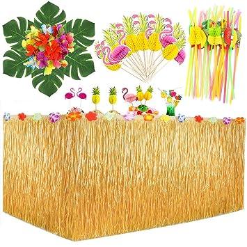 MMTX Hawaiano Luau Falda de mesa, Decoración de fiesta tropical de ...