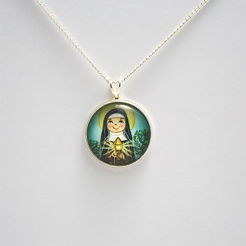 Amazon com: St Clare necklace Saint Clare of Assisi necklace Saint