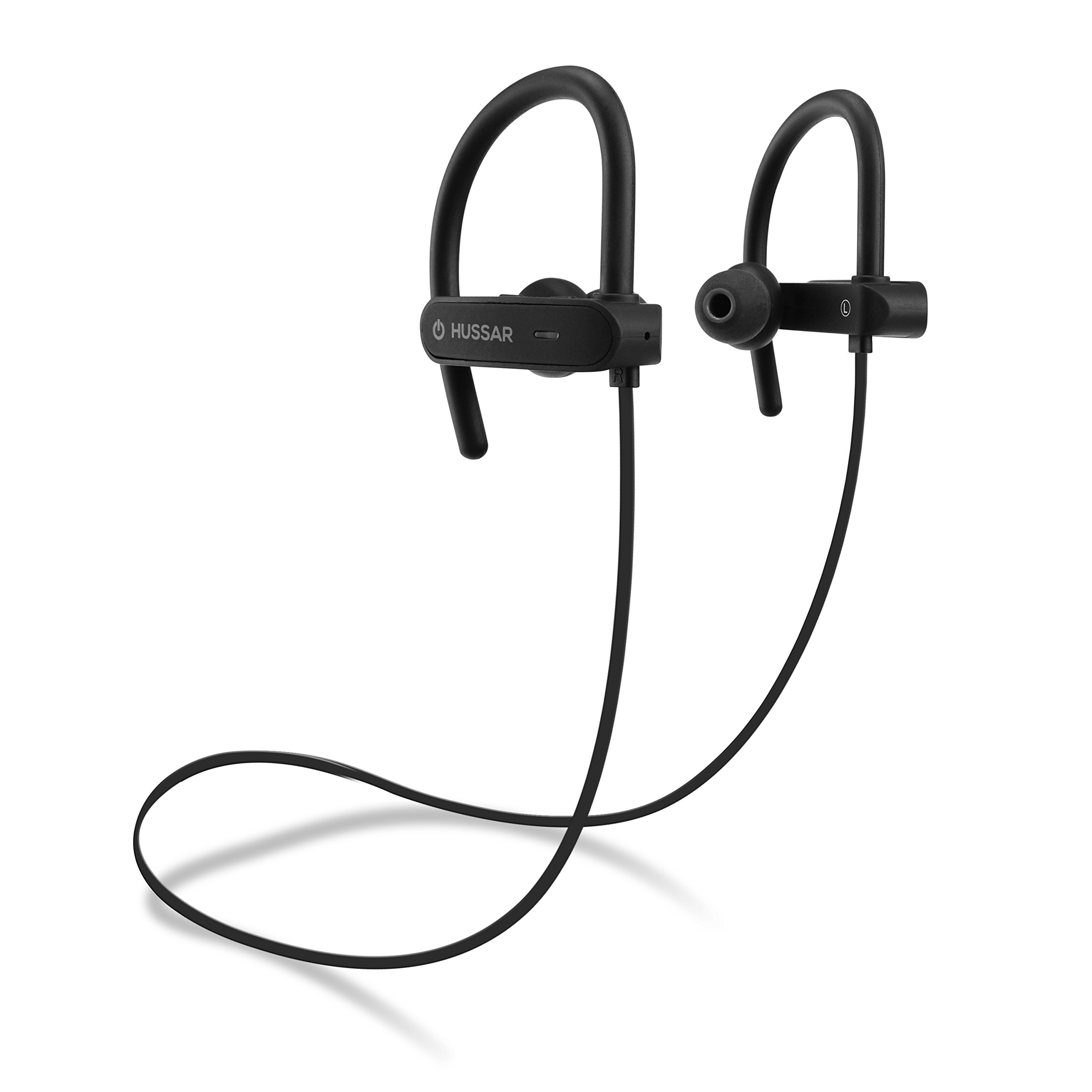 Husssar Magicbuds Bluetooth Headphones, Durable IPX7 Waterproof Sports Earphones w/Mic, HD Sound w/Bass, Secure Comfort Fit Earbuds for Running, Noise Cancelling Sweatproof Headsets, 8 hrs playtime