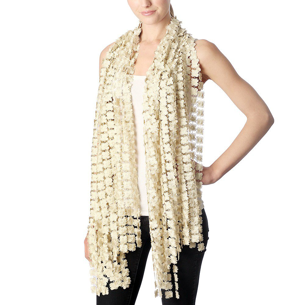 Outcrews Women's Hand Made Delicate Glitter Flower Dressy Evening Party Wraps & Shawls, Formal Scarf (Gold)